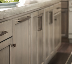 Berenson Hardware on Grey Cabinets