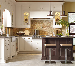 Omega Cabinetry  Style: Traditional Woodward  Material: Maple    Finish: Pearl